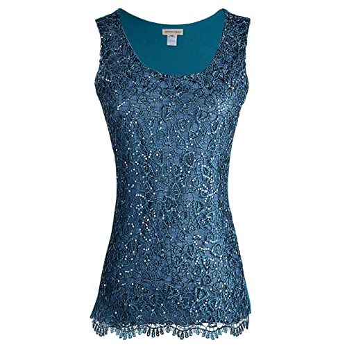 498e4fa3 Anna-Kaci Womens Casual Formal Embroidered Lace Sequin Sleeveless Shirt  Tank Top