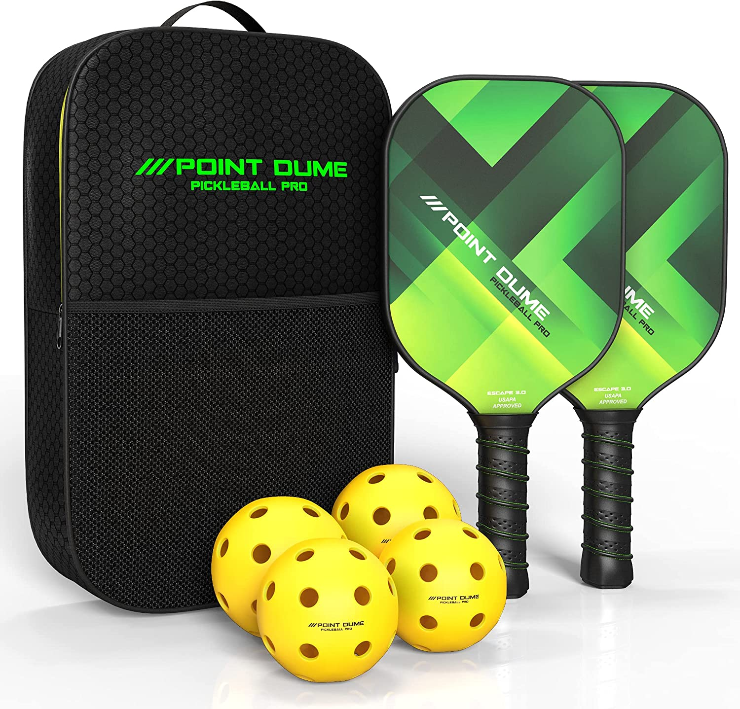 Point Dume Pickleball Paddle Set with High order 2 Paddles a 4 Classic Carbon Balls