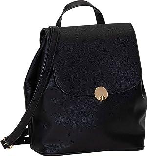 SIX Eleganter Rucksack aus schwarzem Kunstleder mit goldglänzenden Elementen (539-437)