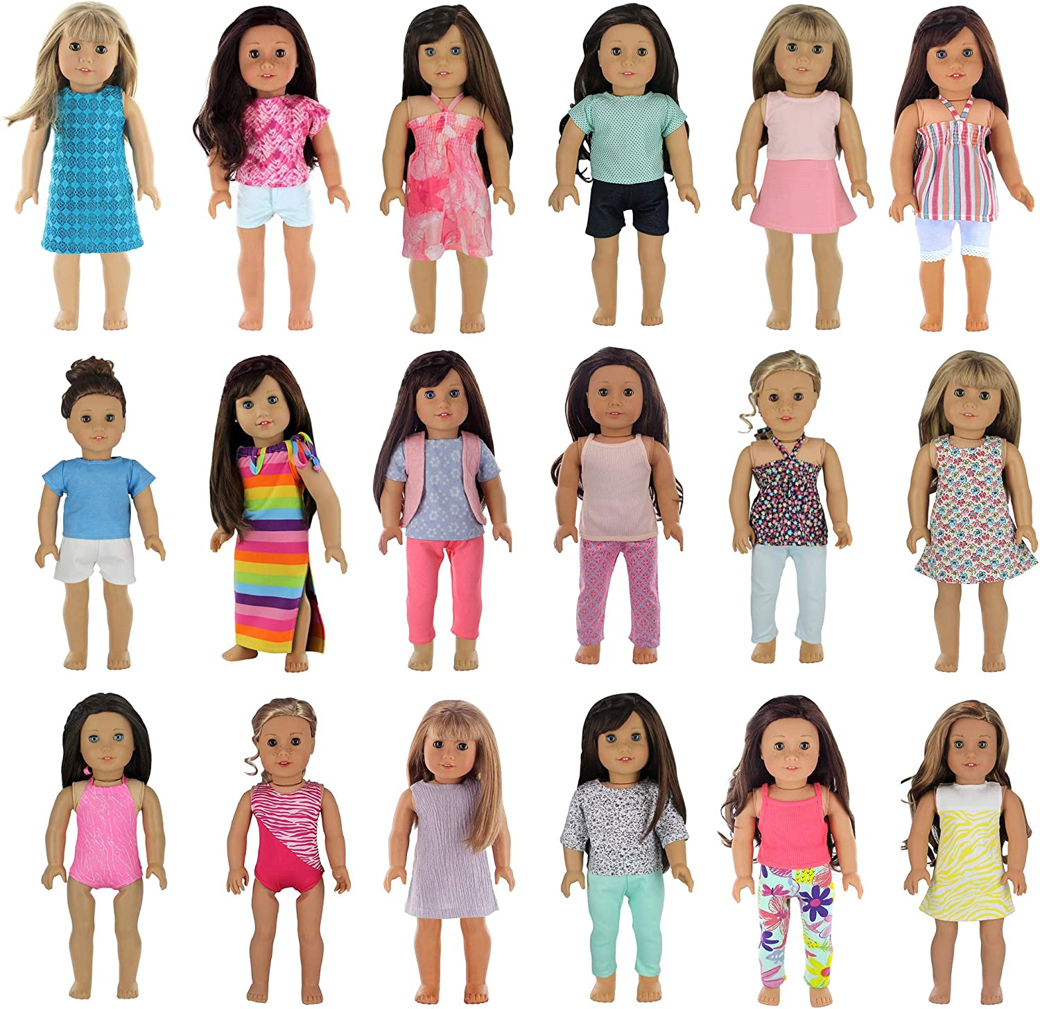 PZAS Toys 18 Outfit Set, Compatible with 18 Inch Dolls