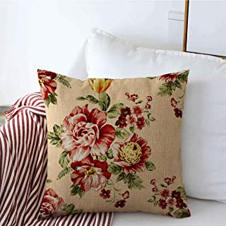Decorative Throw Pillow Cover Floral Vintage Rose Pattern Red Anemone Flower Nature Abstract Blossom Bouquet Calming Chic Linen Pillowcase Square Size 20