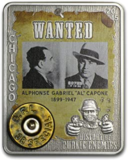 2015 Prestige History of Public Enemies Al Capone 1oz coin with real 38 Special revolver rim Silver Brilliant Uncirculated