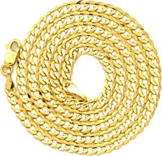 LoveBling 14K Yellow Gold 3mm Plain Solid Curb Cuban Necklace W/Lobster Lock (18