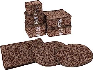Homewear 8-Piece Hudson Damask China Storage Container Set, Brown