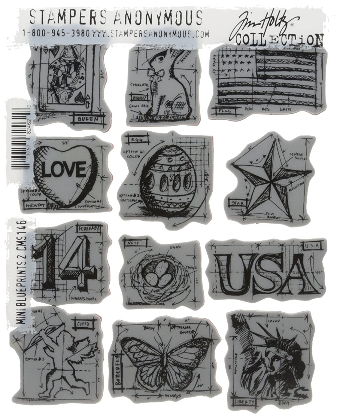 Stampers Anonymous Tim Holtz Cling Rubber Stamp Set, 7 by 8.5-Inch, Mini Blueprints
