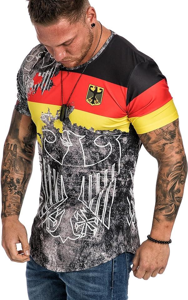 Oversize Herren Crew Neck Body-Fit Flowerball Design Shirt Sommer T-Shirt Rundhals-Ausschnitt R-0036