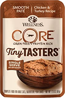 Wellness New Core Natural Grain Free Tiny Tasters, Chicken & Turkey, 1.75 oz (Pack of 12), 16104