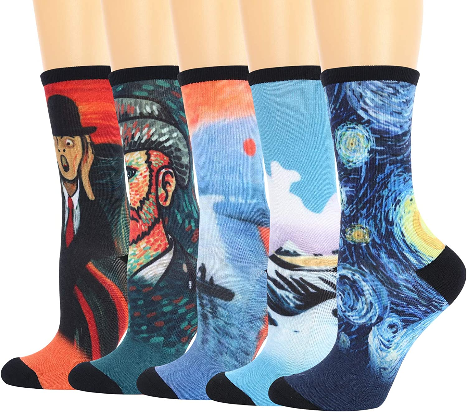 +MD Men's Colorful Novelty Bamboo Dress Crew Socks Funny Crazy Printed Patterned Casual Socks 5 Pack 10-13