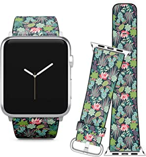 Compatible with Apple Watch (38/40 mm) // Soft Leather Replacement Bracelet Strap Wristband + Adapters // Tor Succulents Cactuses