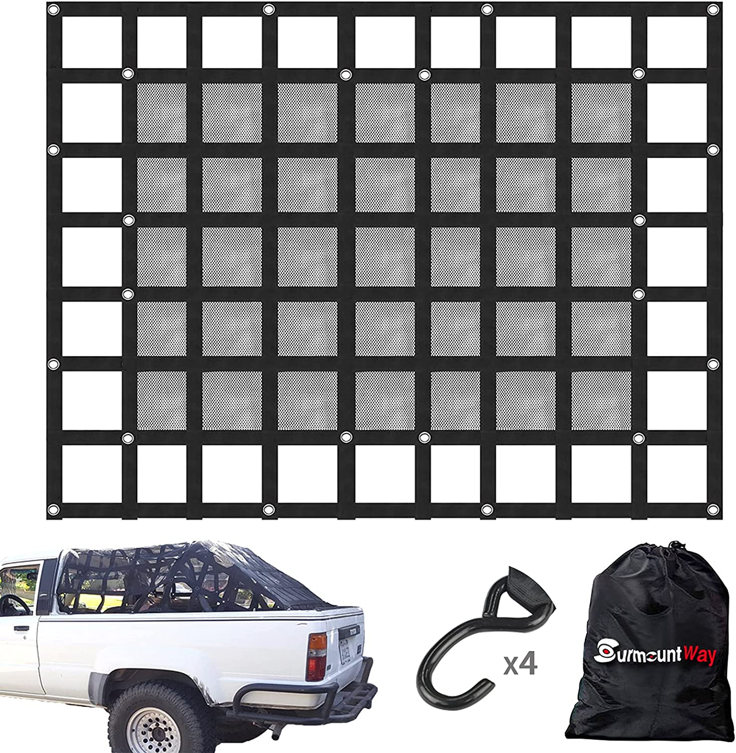 Finally popular In a popularity brand SurmountWay Cargo Net with Mesh Bed Truck 11 Capacity