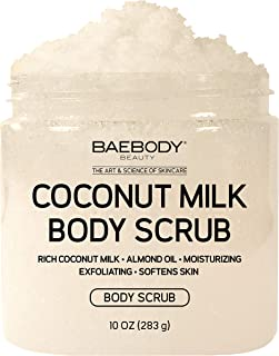Baebody Coconut Milk Body Scrub: With Dead Sea Salt, Almond Oil, and Vitamin E. - Exfoliator, Moisturizer Promoting Radiant Skin 10oz.