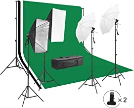 2828 Square Perfect Photography Studio LED Lighting and Background Kit Four Backdrops