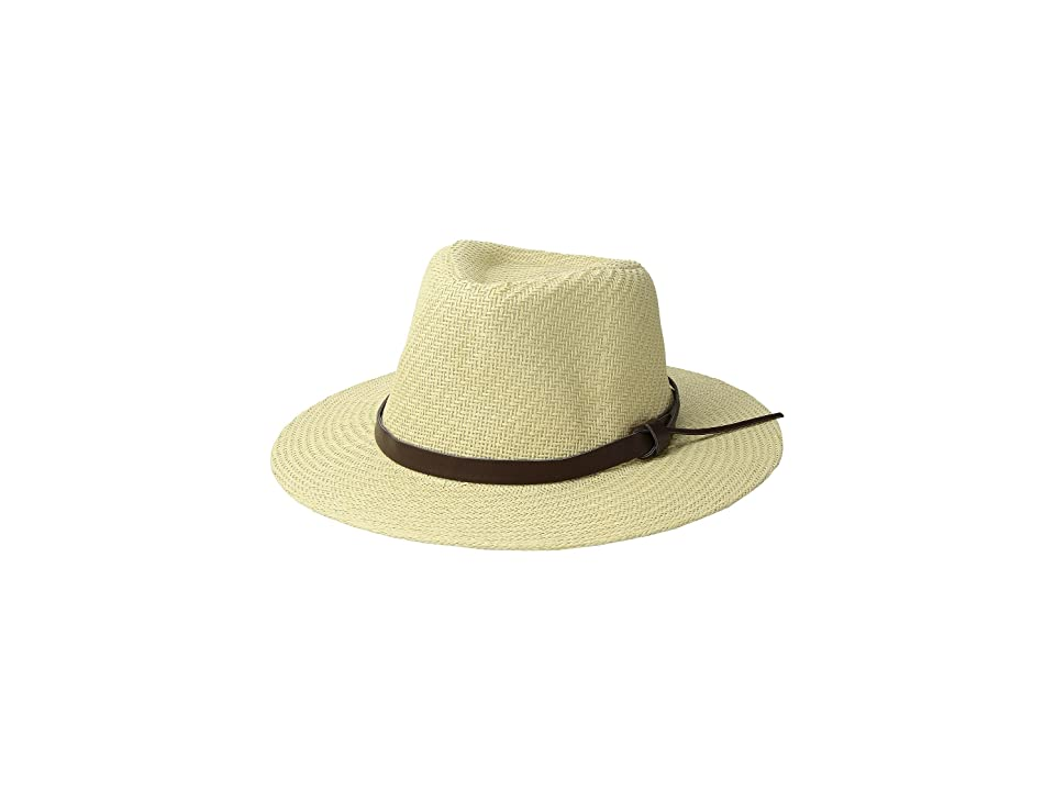 San Diego Hat Company Cut Sew Paper Fedora w/ Faux Leather Band (Ivory) Caps