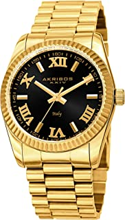 Akribos Italian Designed Stainless Steel Bracelet Watch - Sunray Dial Ridged Bezel Mens Wristwatch- Beautiful Gift Box - AK1034