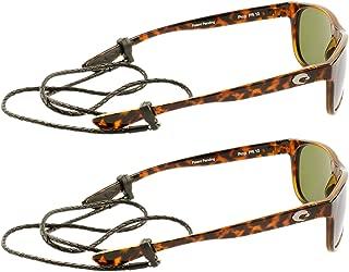 Peeper Keepers Braided Leather Eyewear Retainer Eyeglass Strap Cord | Thin Sunglass & Glasses Holder Keeper Lanyard | 2pk Bundle + Cloth, Dark Brown