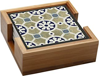 Thirstystone Stone Drink Coaster Set World Indigo Tiles - Wood Holder Included, , Multicolored