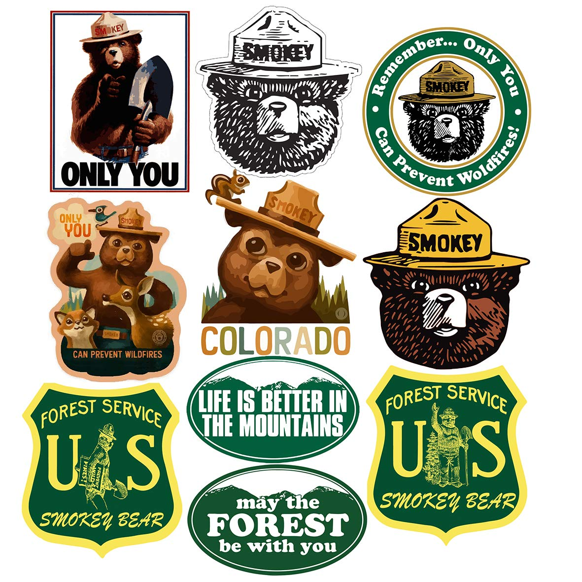 STICKERS, SET OF 2 SMOKEY THE BEAR FIREFIGHTING WILDFIRE DECALS QUALITY 3M