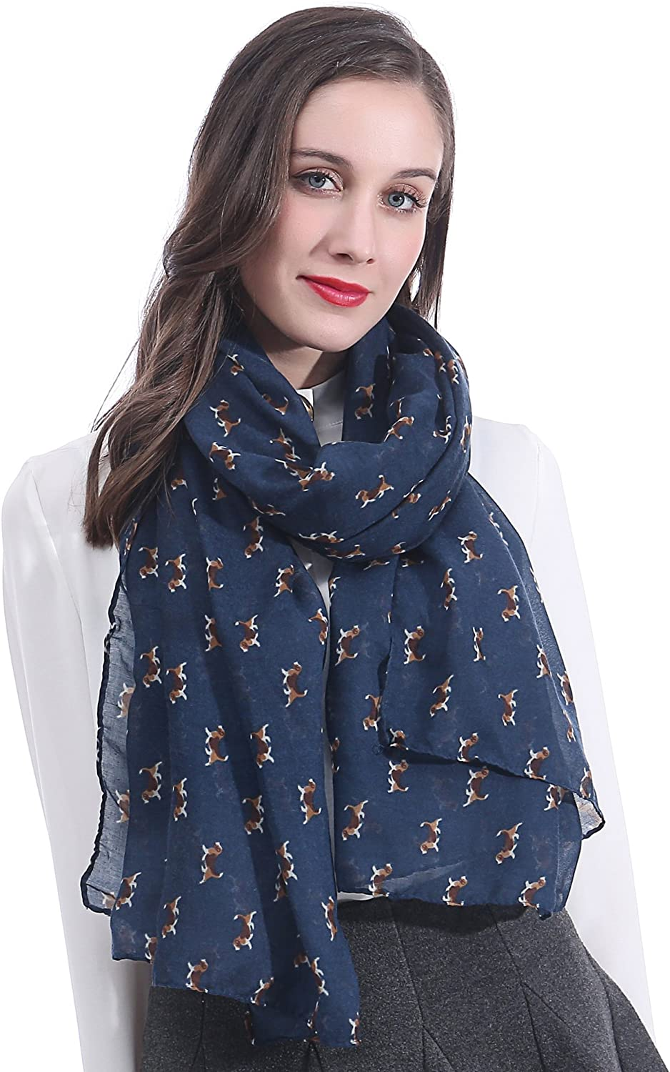 Lina & Lily Beagle Dog Print Women's Scarf Lightweight, Gift for Dog Lover