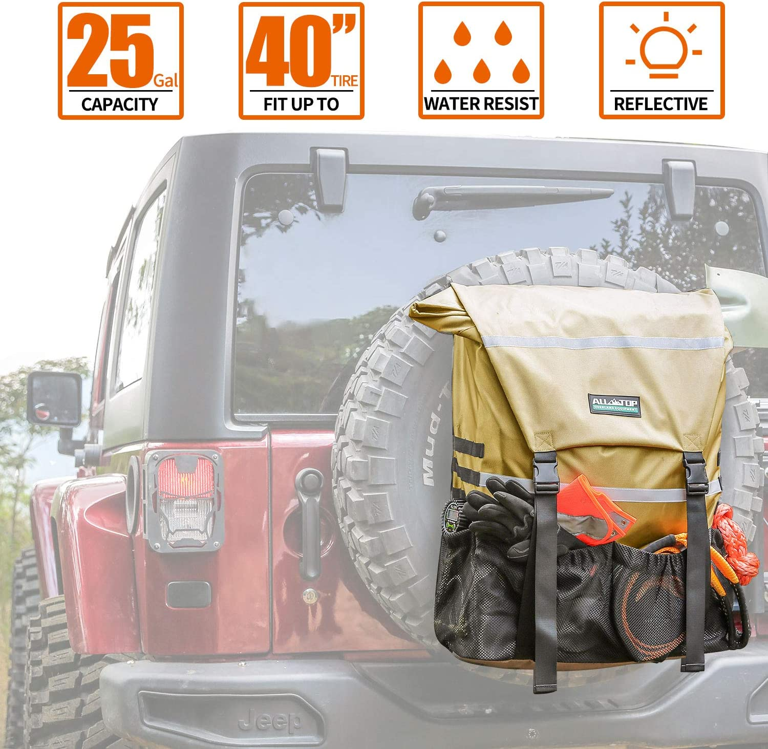 ALL-TOP Overland Max 67% OFF Series Spare Tire Trash Ranking TOP14 Bag Yellow Tan - Tool