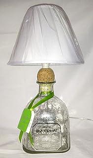 Lampada arredo da tavolo bottiglia vuota Tequila Patron SILVER MAGNUM 1,75 litri abatjour abat jour riciclo creativo riuso...