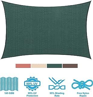 PHI VILLA Sun Shade Sail Rectangle 8'x12' Dark Green Patio Canopy Cover - UV Bloack - for Patio, Garden, Yard, Pergola