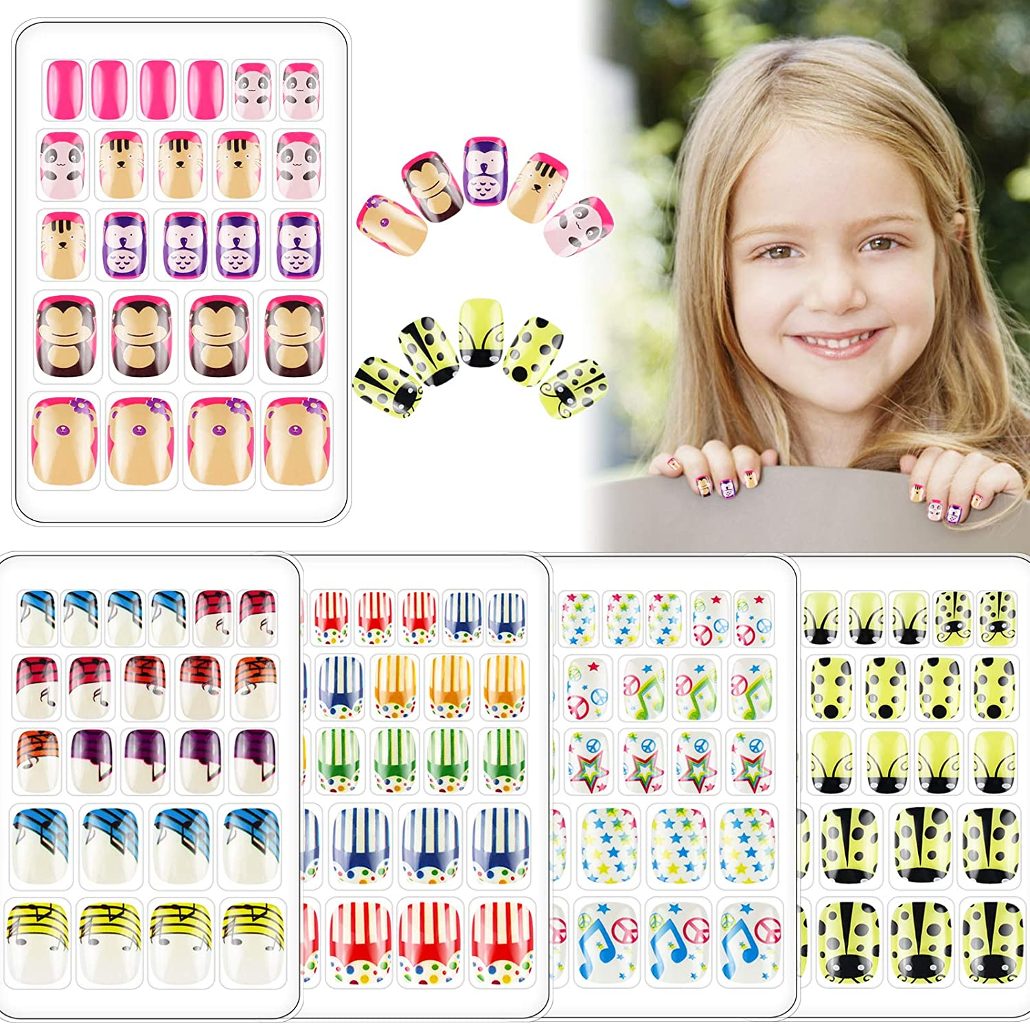 120 PCS Fake Nail for Great interest Kids depot Little Cute Girls Nails Press On