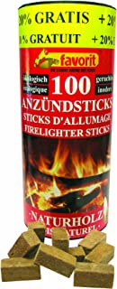 grillanzünder favorit Favorit 1257 Anzündestiks Naturholz Praktische Anzünder aus Echtholz und Wachs, besonders brennstark und einfach zu verwenden in praktischer Vorratsbox, 100 Stück  20% gratis