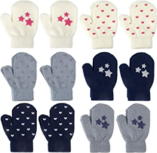 12 Pairs Toddler Stretch Soft Knitted Mittens Boys Girls Winter Gloves