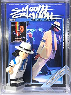 BuildABrick Michael Jackson Smooth Criminal Custom Minifigure w/ Display Case UV Collectible Card for Moonwalker Breakdance minifig Collectors 445A