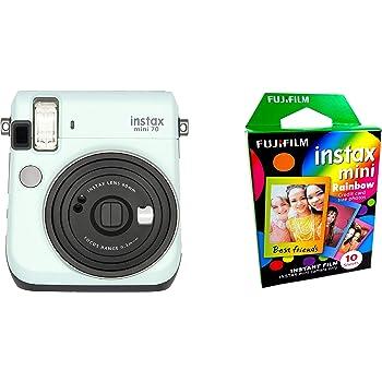 Fujifilm Instax Mini 70 - Instant Film Camera (Icy Mint) and Instax Mini Rainbow Film Value Pack - 10 Images