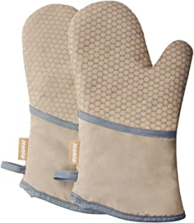Honla Kitchen Oven Mitts with Non Slip Silicone Printed,1 Pair of Heat Resistant Oven Gloves for Cooking,Baking,Grilling,Barbecue Potholders,Tan