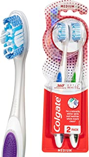 Colgate 360° Advanced Optic White Platinum Medium Bristles Whitening Toothbrush Value 2 Pack