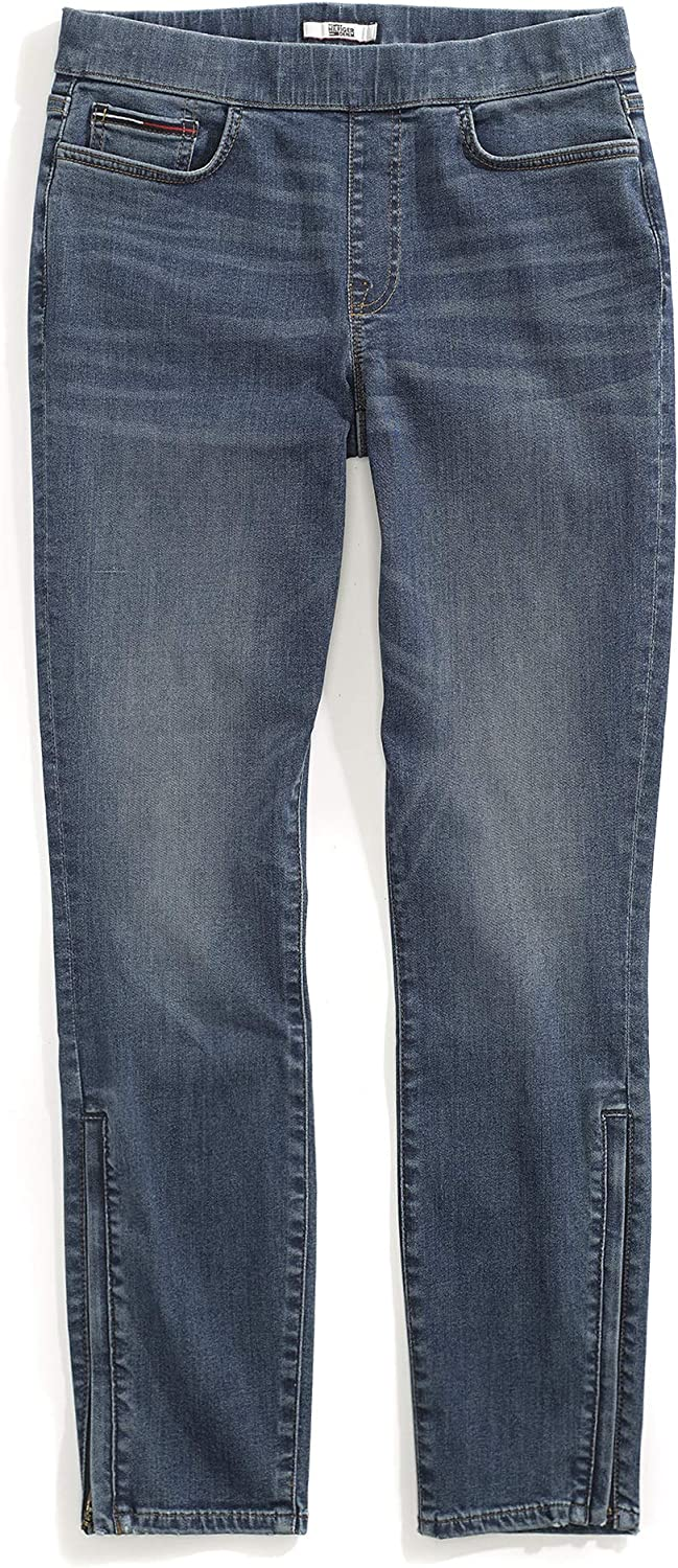 Tommy Hilfiger Women's Adaptive Jegging Jeans with Elastic Waist and Zipper Outside Seams