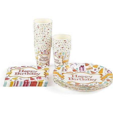 Amazon Brand - Umi Service de vaisselle jetable Comprenant : 24 assiette carton, gobelet carton, serviettes ; 72 pièces au Total, Peut Servir 24 invités. (kit anniversaire)