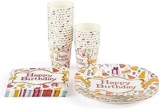 Amazon Brand - Umi Service de vaisselle jetable Comprenant : 24 assiette carton, gobelet carton, serviettes ; 72 pièces au...