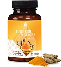 Turmeric Ginger with BioPerine 95% Curcuminoids. Turmeric and Ginger Curcumin Supplements with Black Pepper Extract for Ab...