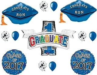 BLUE Grad Caps PERSONALIZED CLASS 2017 Graduation Party Balloons Decoration Supplies