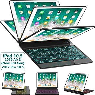 iPad Pro 10.5 Keyboard Case for iPad Pro 10.5 inch 2017 /iPad Air 10.5(3rd Gen) 2019, 360 Rotatable BT/Wireless Backlit Keyboard Case/Smart Auto Sleep-Wake Case/Ultra-Thin Keyboard Cover (Black)