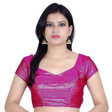 Chandrakala Women's Party Wear Bollywood Readymade Indian Style Saree Blouse Padded Brocade Choli (B106)
