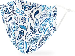Weddingstar 3-Ply Adult Washable Cloth Face Mask Reusable and Adjustable with Filter Pocket - Blue Paisley