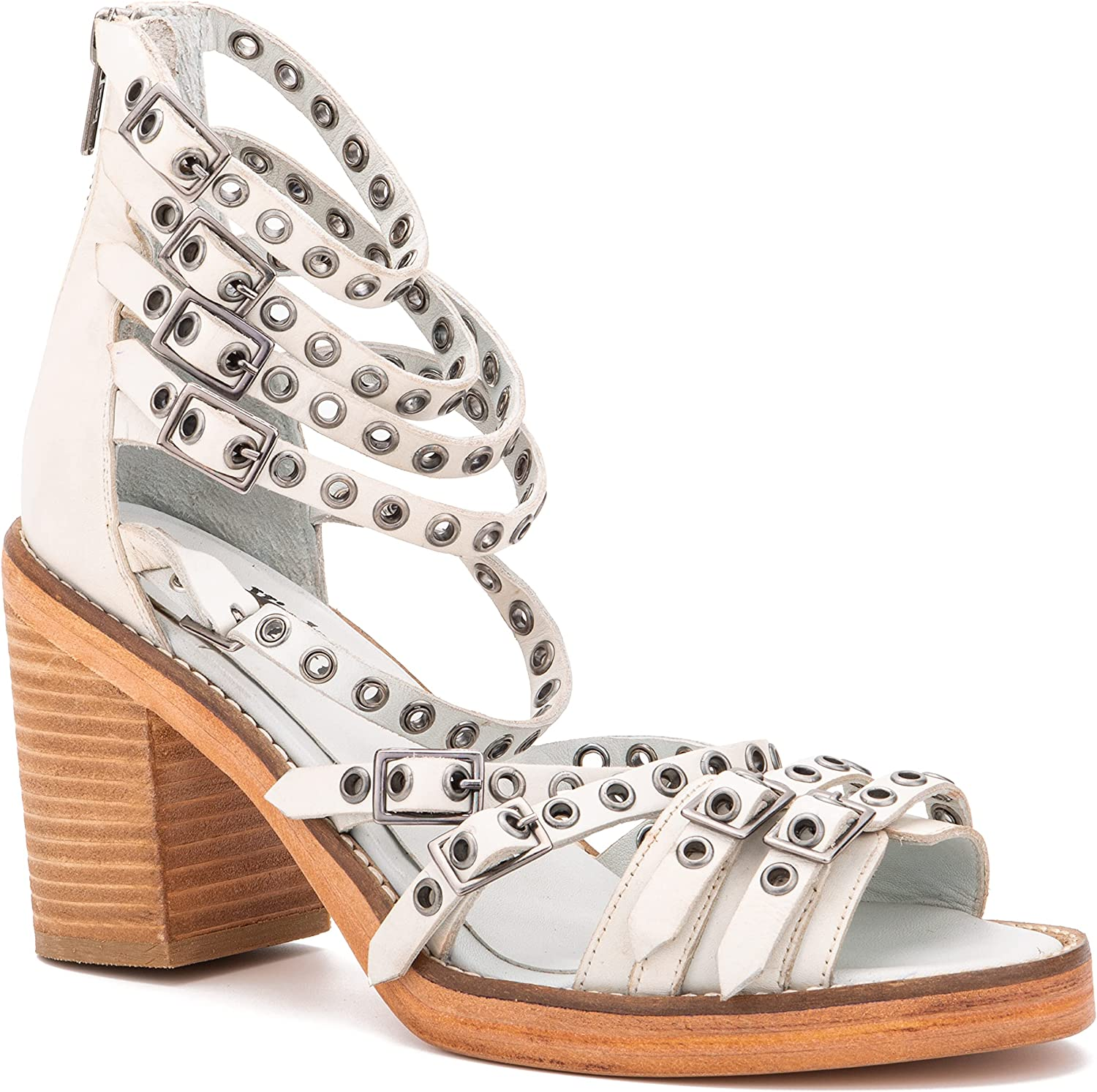 Vintage Foundry Co. Women's Jamina Ankle Strap D'Orsay Strappy Peep Open Toe Heeled Sandal, Leather Outsole