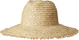 PBF7349 - Paper Straw Fedora with Embroidered Pineapple and Fray Edge