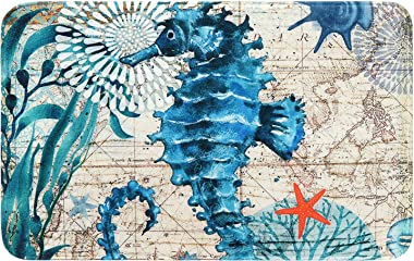 Uphome Memory Foam Bathroom Rugs Vintage Summer Ocean Collection Sea Horse on Nautical Map Flannel Microfiber Bath Mat Non-Slip Soft Absorbent Bath Rug Kitchen Floor Carpet, 16x24