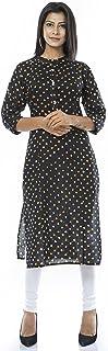 Ladyline Cotton Bandhani Printed Tunic Top Button Down Neck 3/4 Sleeves Long Kurti Kurta Bandhej