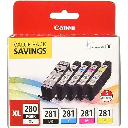 """PGI-280XL/CLI-281 5 Color Pack """"Canon PGI-280XL/CLI-281 5 Color Pack Compatible to TR8520, TR7520, TS9120 Series,TS8120 Series, TS6120 Series"""", Multicolor"""