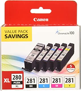 "PGI-280 XL / CLI-281 Combo Ink Pack with Glossy Photo Paper (50 Sheets, 4""x6""), Multicolor"