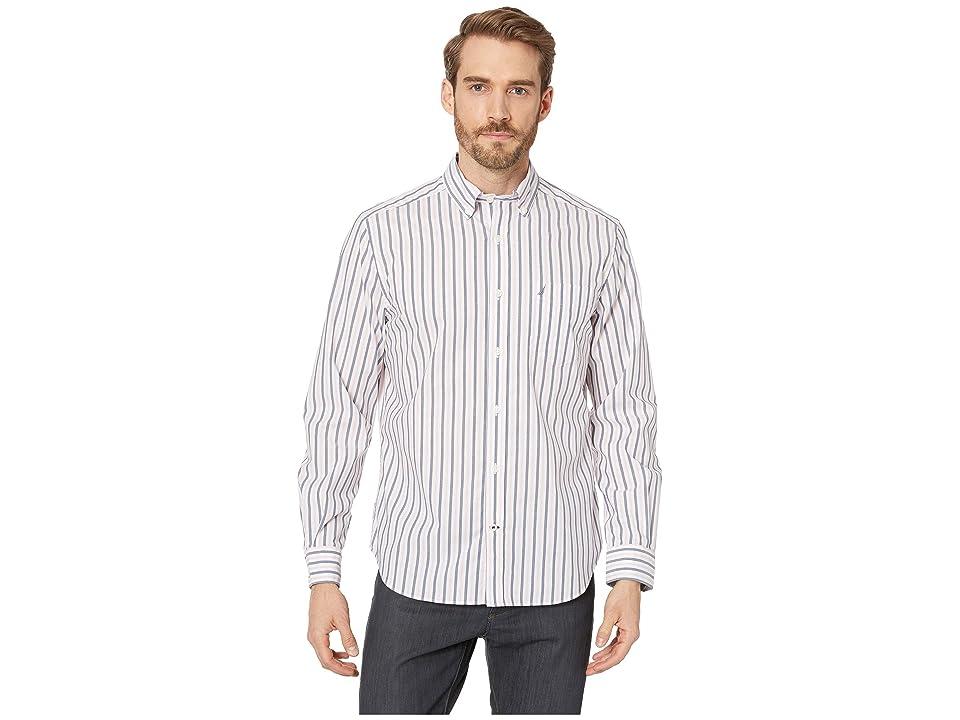 Nautica Long Sleeve Blue Stripe Shirt (Estate Blue) Men's Clothing, Navy