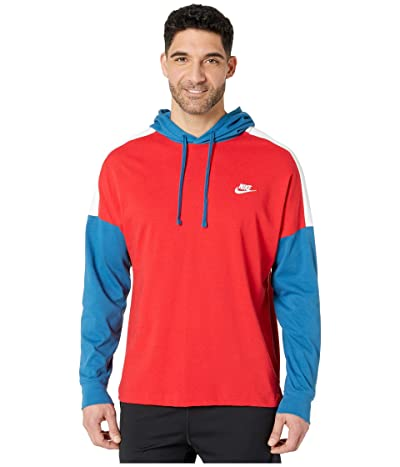 Nike NSW Hoodie Pullover Jersey Color Block (University Red/Industrial Blue/White) Men