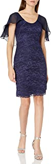 Marina Women's Tiered Lace Dress with Capelet