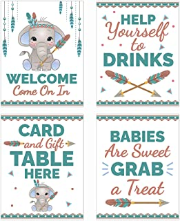 Boho Blue Elephant Baby Shower Table Decorations Signs - Centerpiece Decor Supplies for Boys